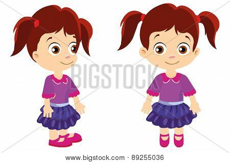 Girl with pigtails front and side