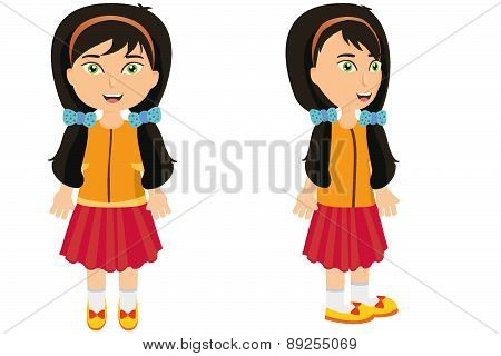 Black hair girl front and side with low pigtails