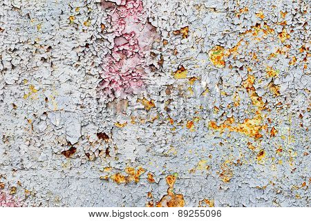 Creative Background Of Rusty Metal With Cracks And Scratches, Peeling Paint. Grungy Metal