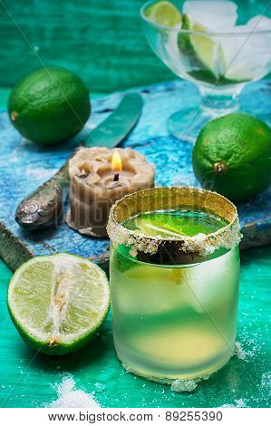 Refreshing Cocktail Made Of Rum And Lime With Ice