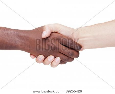 Handshake between caucasian and african man, racism concept