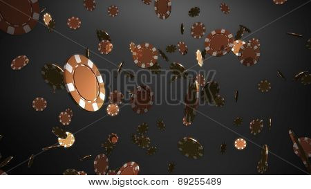 Bronze Color Casino Chips Black Background