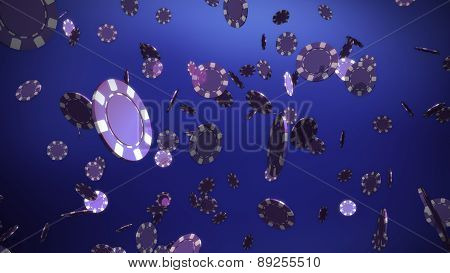 Purple Casino Chips Blue Background