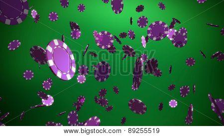 Purple Casino Chips Green Backgound