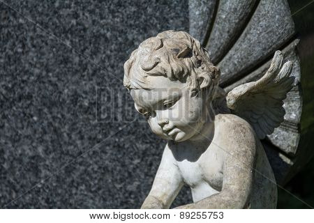 Putto Or Child Angel Statue As A Grave Stone On A Cemetery