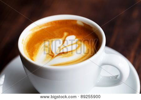 Cup Of Coffee. Morning Atmospheric Lighting, Fashionable Trendy Spot Soft Focus. Preparation For Des