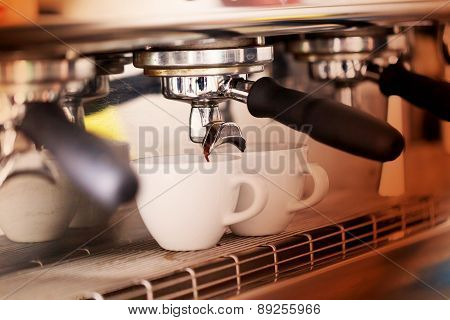 Making Coffemaking Coffee In The Coffee Machine. In The Light Colored Spotlights, Fashion Trend Poin