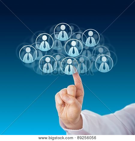 Finger Touching Human Resources In The Cloud