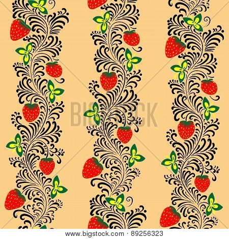 Seamless Strawberry Pattern Khokhloma