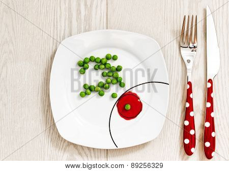Peas on a plate, dieting concept