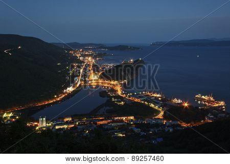 Night View Of Petropavlovsk-Kamchatsky City, Avacha Bay And Pacific Ocean. Russia