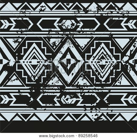 Vector ethnic seamless pattern with american indian traditional ornament in black and white colors.