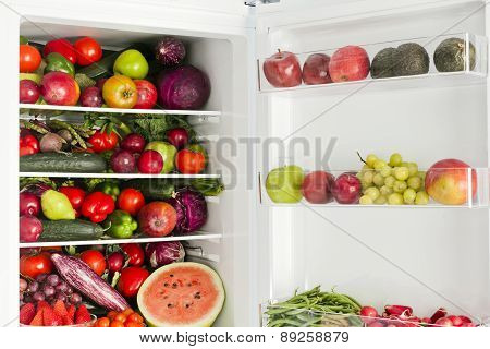 Fridge With Vegetables And Fruit