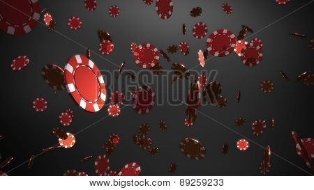 Red Casino Chips Black  Background