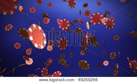 Red Casino Chips Purple Background