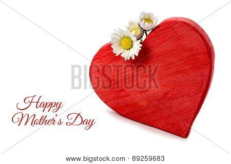 Red Wooden Heart Shape With Three Daisies Isolated On White, Sample Text Happy Mother's Day