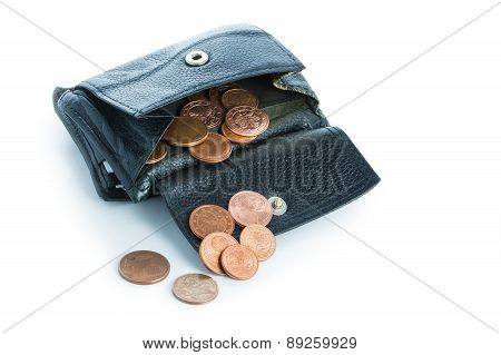 Old  Leather Wallet With Euro Coins Isolated On White