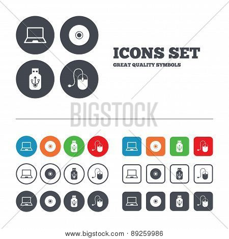 Notebook pc and Usb flash drive stick icons.