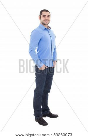 Full Length Portrait Of Handsome Arabic Business Man In Blue Shirt Isolated On White