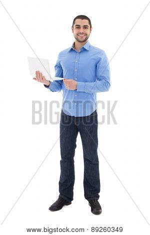 Full Length Portrait Of Handsome Arabic Man With Laptop Isolated On White