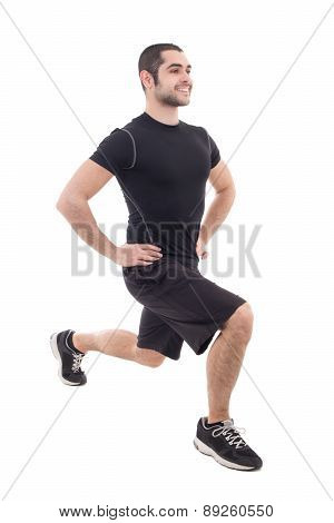 Handsome Bearded Arabic Man In Sportswear Warming Before Training Isolated On White