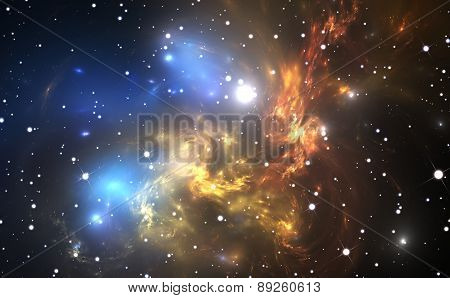 Space Background With Colorful Nebula And Stars