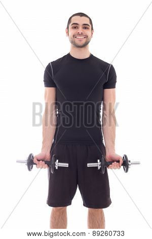 Young Handsome Man In Sportswear Doing Exercises With Dumbbells Isolated On White