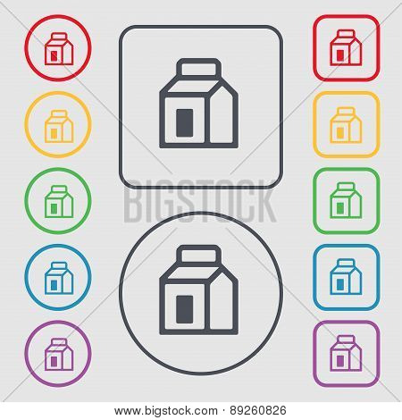Milk, Juice, Beverages, Carton Package Icon Sign. Symbol On The Round And Square Buttons With Frame.