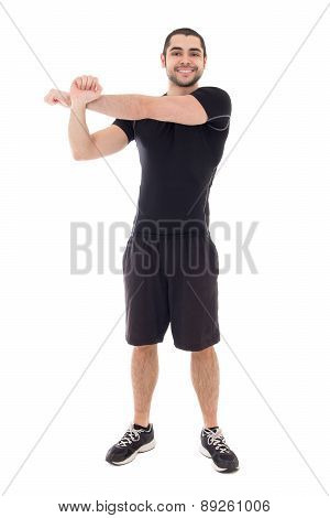 Handsome Bearded Arabic Man In Sportswear Warming Hands Before Training Isolated On White