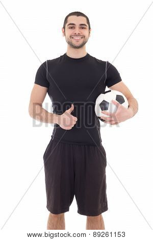 Young Handsome Arabic Man In Sportswear With Soccer Ball Isolated On White