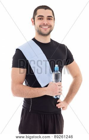 Handsome Arabic Man In Sportswear With Bottle Of Water Isolated On White