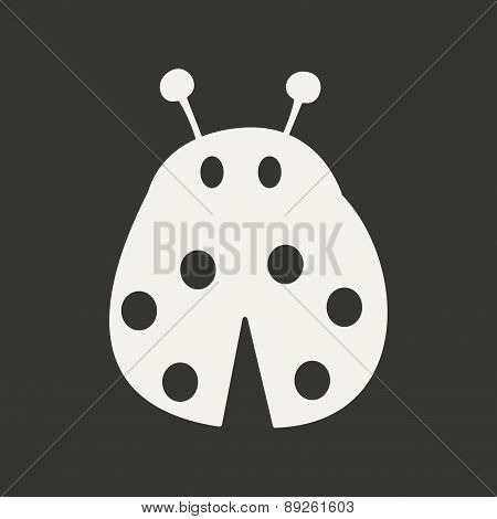 Flat in black and white mobile application ladybug