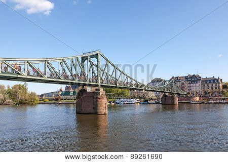 Old Iron Bridge In Frankfurt Main