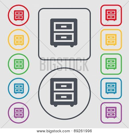 Nightstand Icon Sign. Symbol On The Round And Square Buttons With Frame. Vector