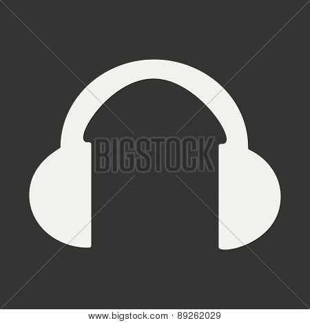 Flat in black and white mobile application headphones