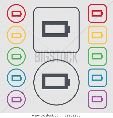 Battery Empty Icon Sign. Symbol On The Round And Square Buttons With Frame. Vector
