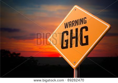 GHG on Warning Road Sign.