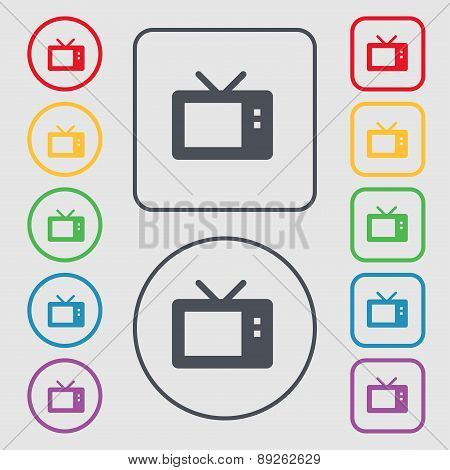 Retro Tv Mode Icon Sign. Symbol On The Round And Square Buttons With Frame. Vector