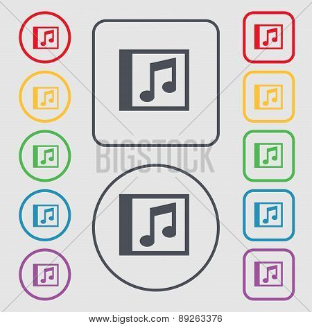 Audio, Mp3 File Icon Sign. Symbol On The Round And Square Buttons With Frame. Vector
