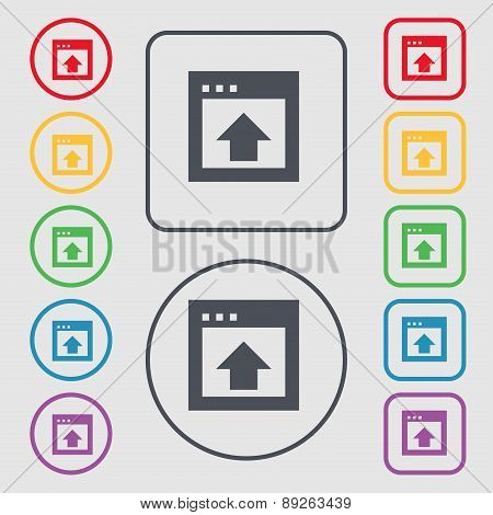 Direction Arrow Up Icon Sign. Symbol On The Round And Square Buttons With Frame. Vector