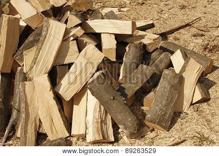 Heap Of Chopped Hornbeam Firewood