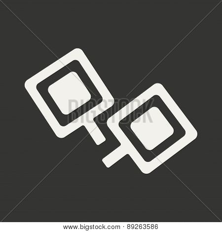 Flat in black and white mobile application cufflinks