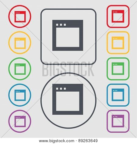 Simple Browser Window Icon Sign. Symbol On The Round And Square Buttons With Frame. Vector