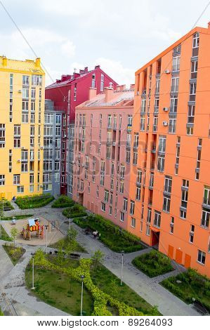 Aerial view on colorful residential buildings. Real estate and housing in Kyiv Ukraine