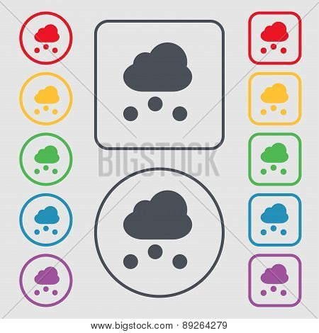 Snowing Icon Sign. Symbol On The Round And Square Buttons With Frame. Vector