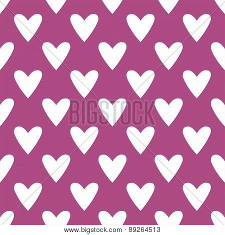 Tile vector pattern with white hearts on pastel background