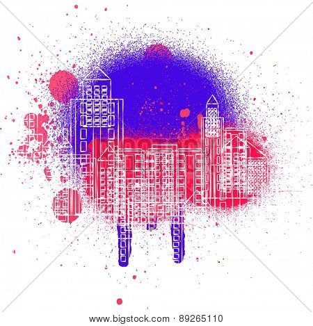 Vector background blots and the city.
