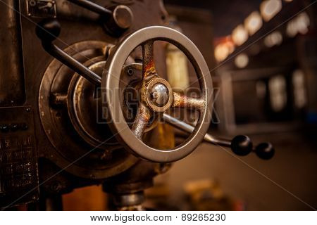 Detail Of A Vintage Industrial Metal Working Lathe.