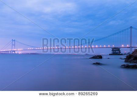 modern bridge in susnet, landscape of traffic.