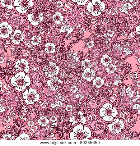 Seamless pattern with doodle spring flowers in pink
